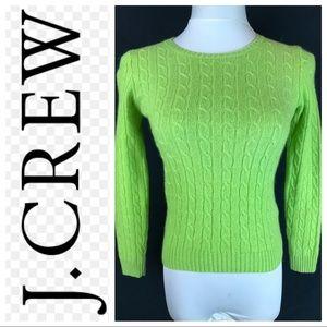J. Crew Green Cableknit Cashmere Blend Sweater